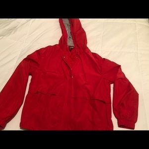 Red bomber jacket with hood